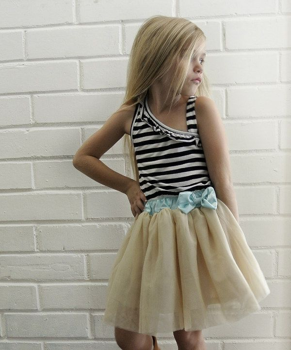 Look what I found on #zulily! Beige Stripe Tulle Asymmetrical Dress - Toddler & Girls by Knuckleheads #zulilyfinds
