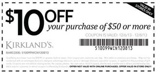 Kirklands Coupon 10 Off 50 Purchase Through 12 08 Kirkland Coupon Printable Coupons Free Printable Coupons