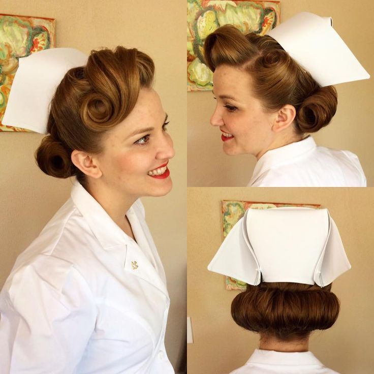 1940s Hairstyle With Nurses Cap Worn In The Style Nurse Hairstyles 1940s Hairstyles Vintage Hairstyles