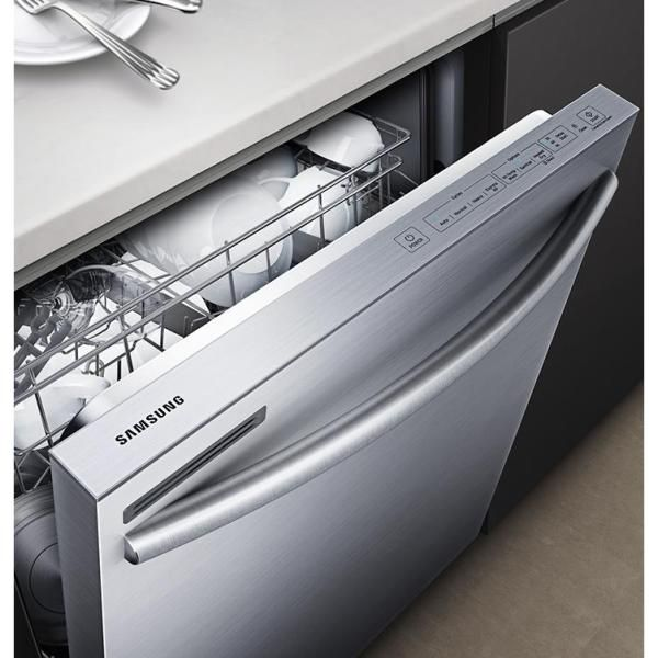 Samsung 24 In Top Control Dishwasher With Stainless Steel Interior Door And Plastic Tall Tub In Stainless Steel 55 Dba Dw80m2020us The Home Depot Stainless Steel Dishwasher Built In Dishwasher Interior