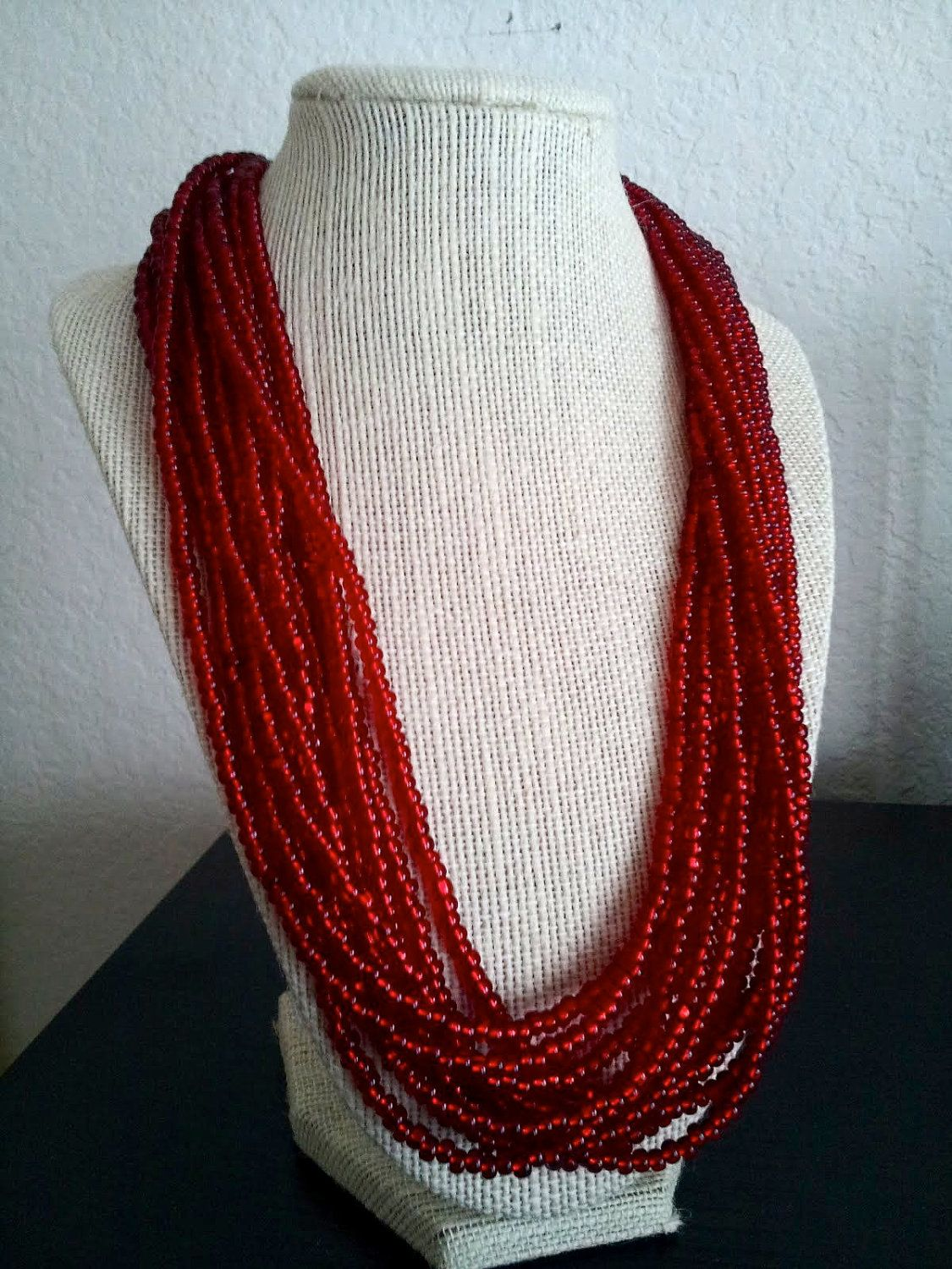 Red Rope Necklace. $40.00, via Etsy.