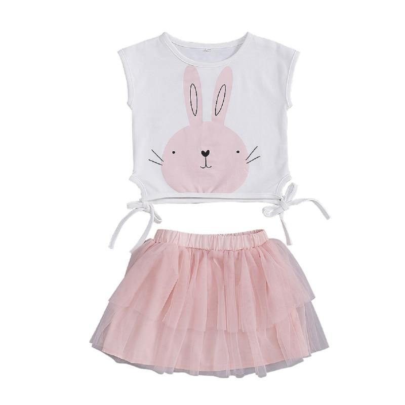 3PCS Toddler Kids Baby Girl Bunny Tops Blouse Dress Leggings Outfit Set Clothes