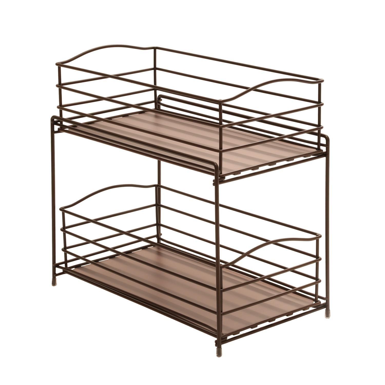 Amazon.com: Seville Classics 2-Tier Sliding Basket Kitchen Cabinet ...