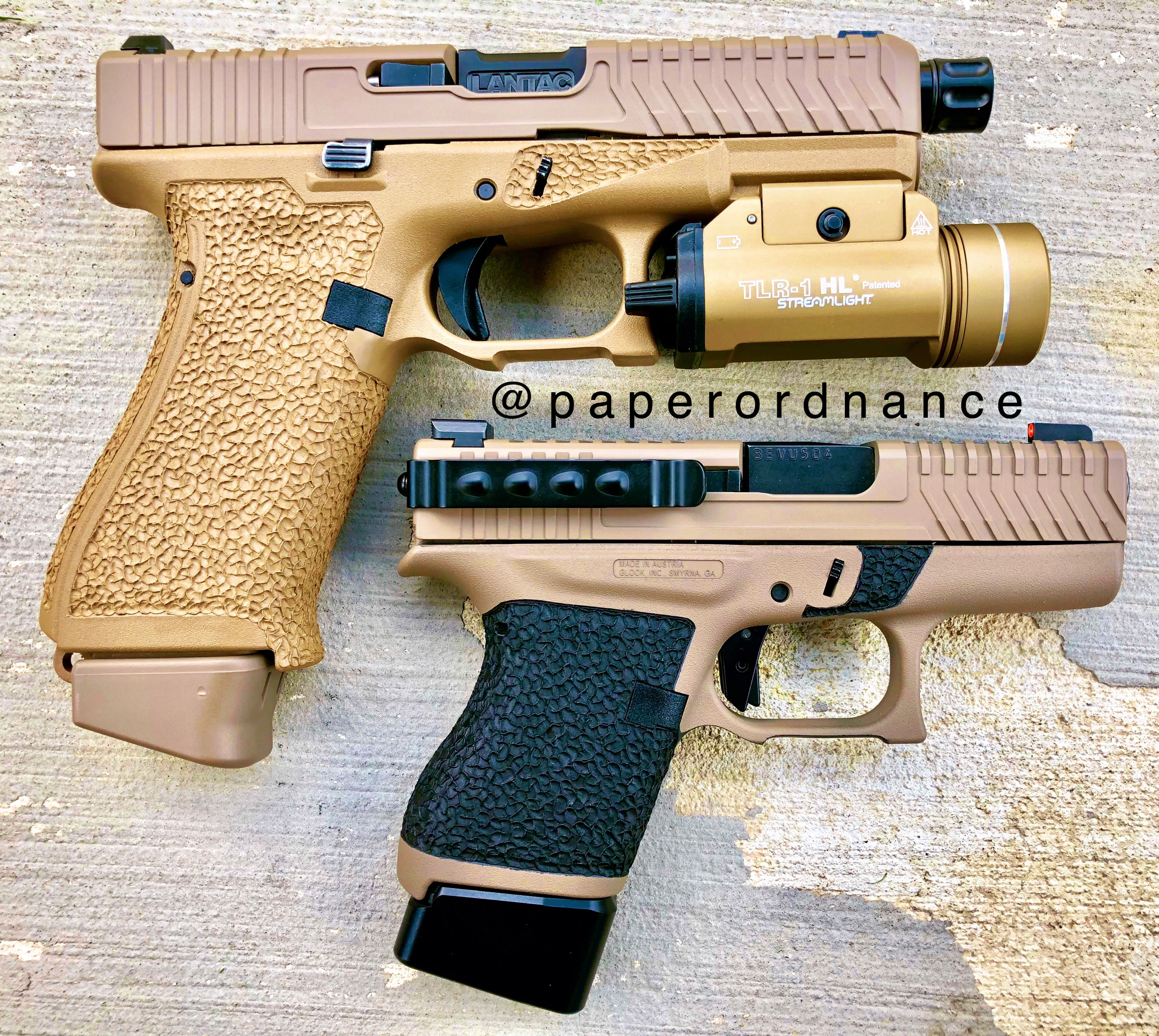 Lovely FDE Glock 19x and Glock 43 with some amazing stipple work