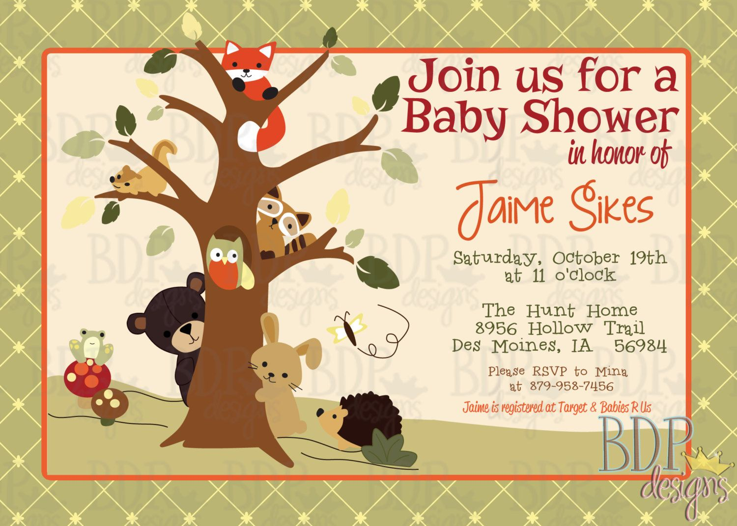 Customizable lambs ivy echo baby shower invitation by