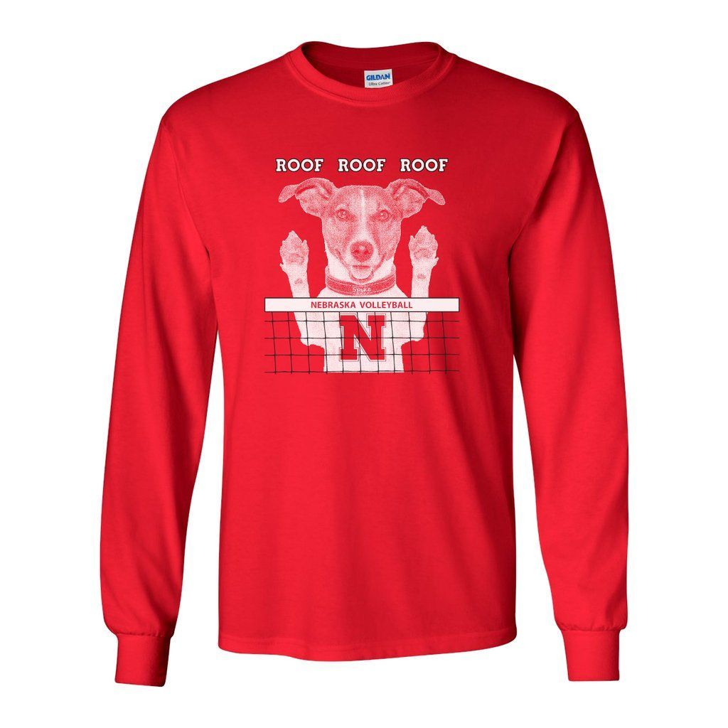 Nebraska Husker Volleyball Spike Dog Roof Roof Roof Long Sleeve Tee Shirt Long Sleeve Tee Shirts Long Sleeve Tees Long Sleeve Tshirt Men