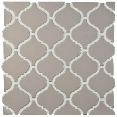 Merola Tile Metro Lantern Glossy Taupe Grey 9 3 4 In X 10 1 6 Mm Porcelain Mosaic Fdxmlgg The Home Depot