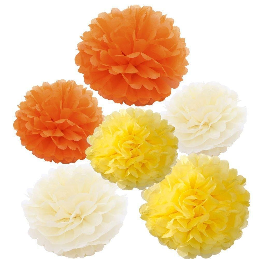 18pcs creamyellow and orange tissue paper pom poms flowers wedding 18pcs creamyellow and orange tissue paper pom poms flowers wedding birthday garland set3 colors mightylinksfo