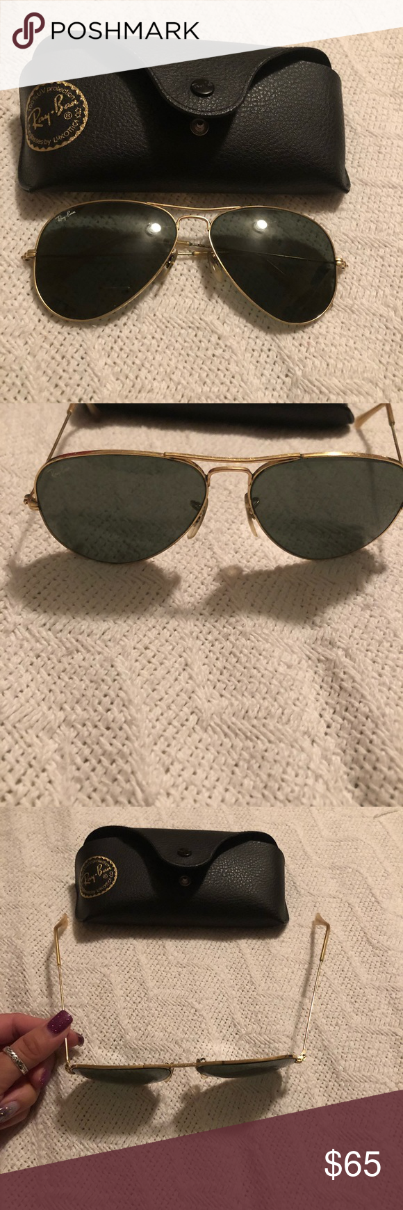 16bb159a6422 Black aviator sunglasses ray ban Black aviator sunglasses Arm bands needs  to be tighten as they have stretched out to sides as seen in picture.