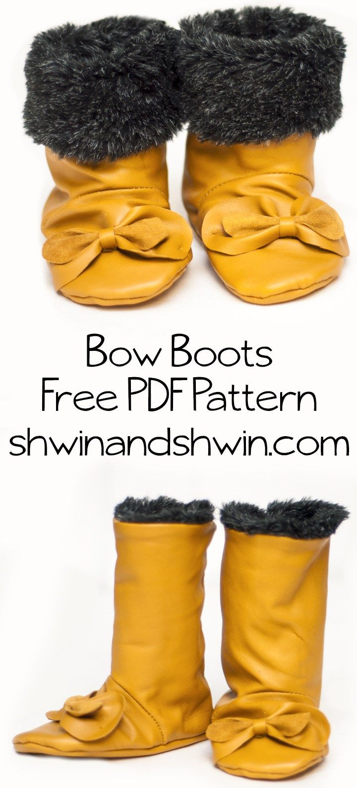 Baby Bow Boots || Free PDF Pattern || Shwin&Shwin | Sewing ...