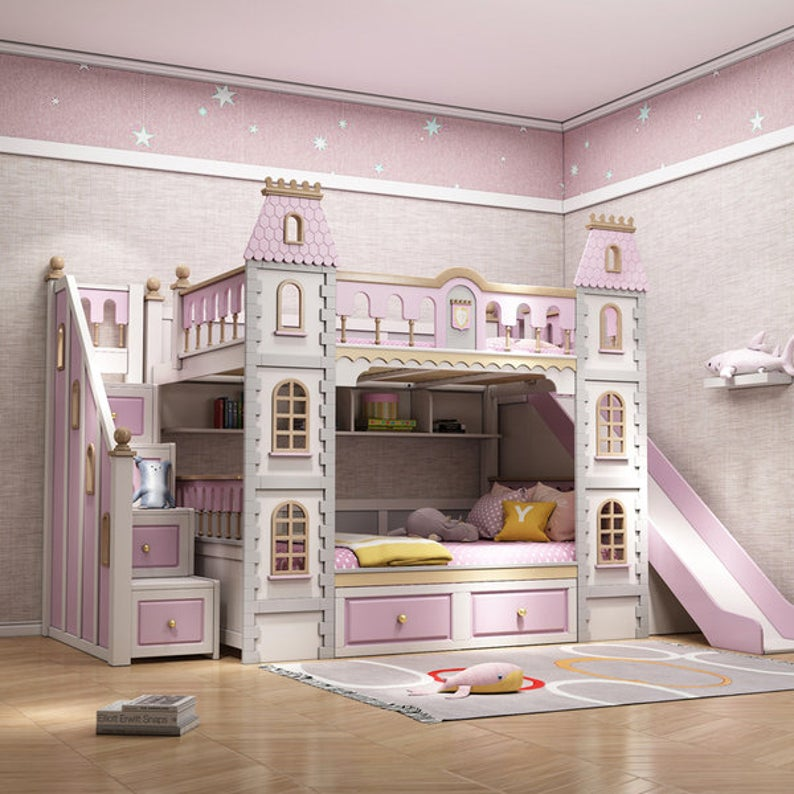 Made to order modern castle bunk bed with storage and