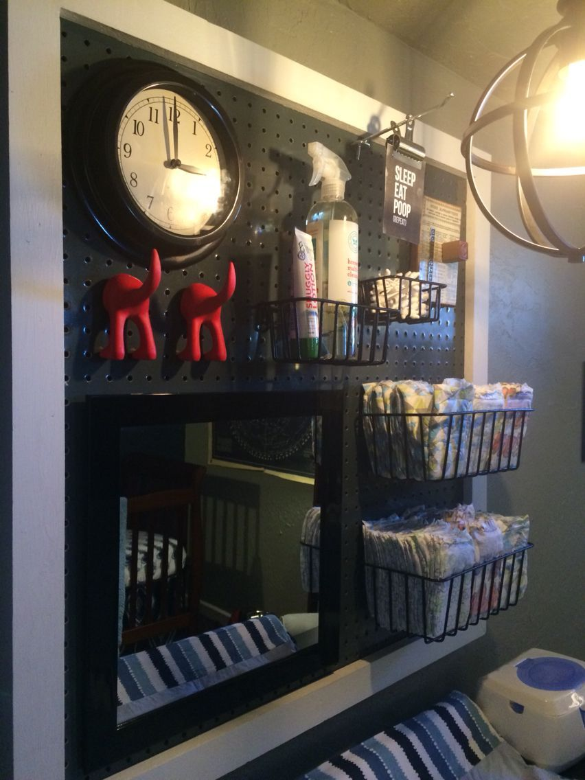 Photo of Pegboard in nursery- I like the mirror and clock attached. – pegboard