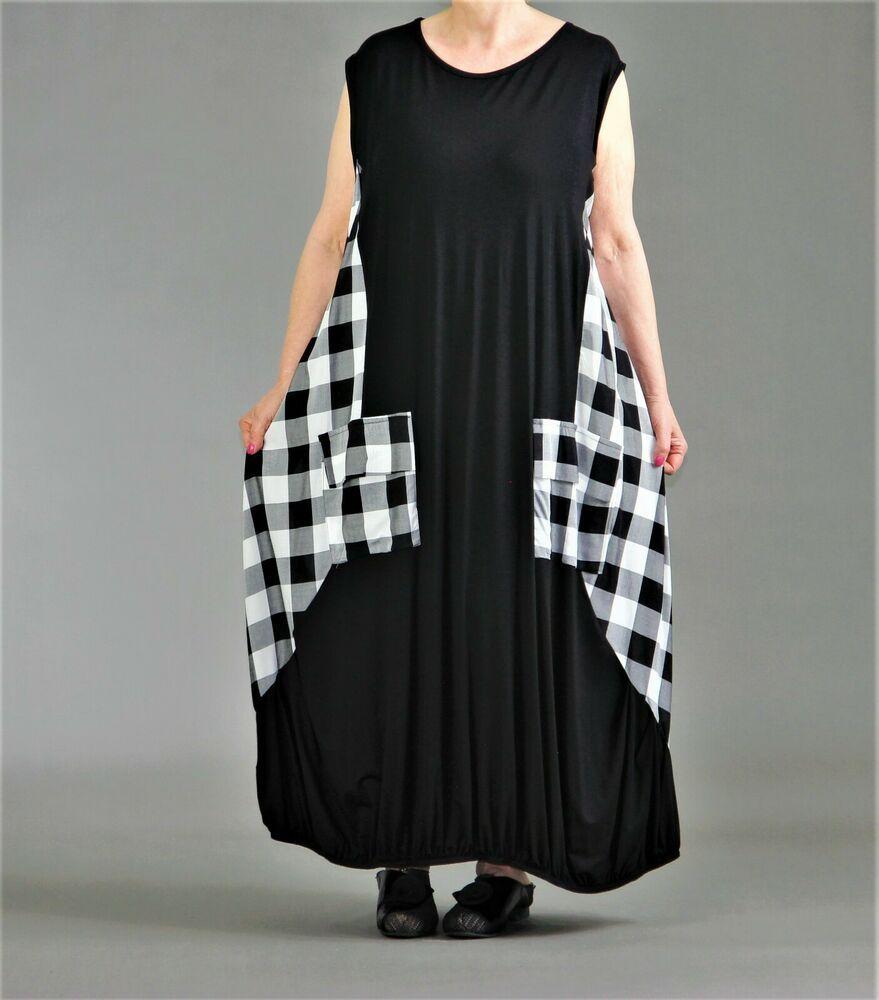 ♢ akh fashion ballon-kleid gr. 44,46,48,50,52 karo, sw-weiß