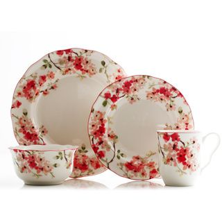 222 Fifth Cherry Blossom 16 Piece Porcelain Dinnerware Set Ping Great Deals On Casual