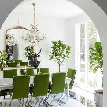 Green Velvet Dining Chairs With Marble Dining Table Green Dining