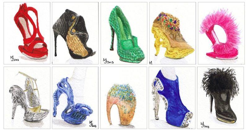 MJ ILLUSTRATES: McQueen Watercolor shoes