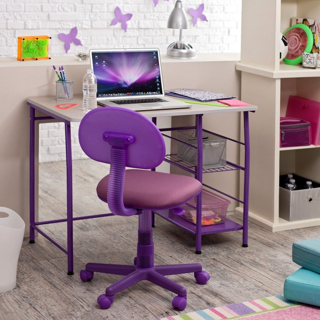 Superior Winsome Rectangle Kids Desk Design With Amazing Purple Swivel Chair And  White Basket Ideas