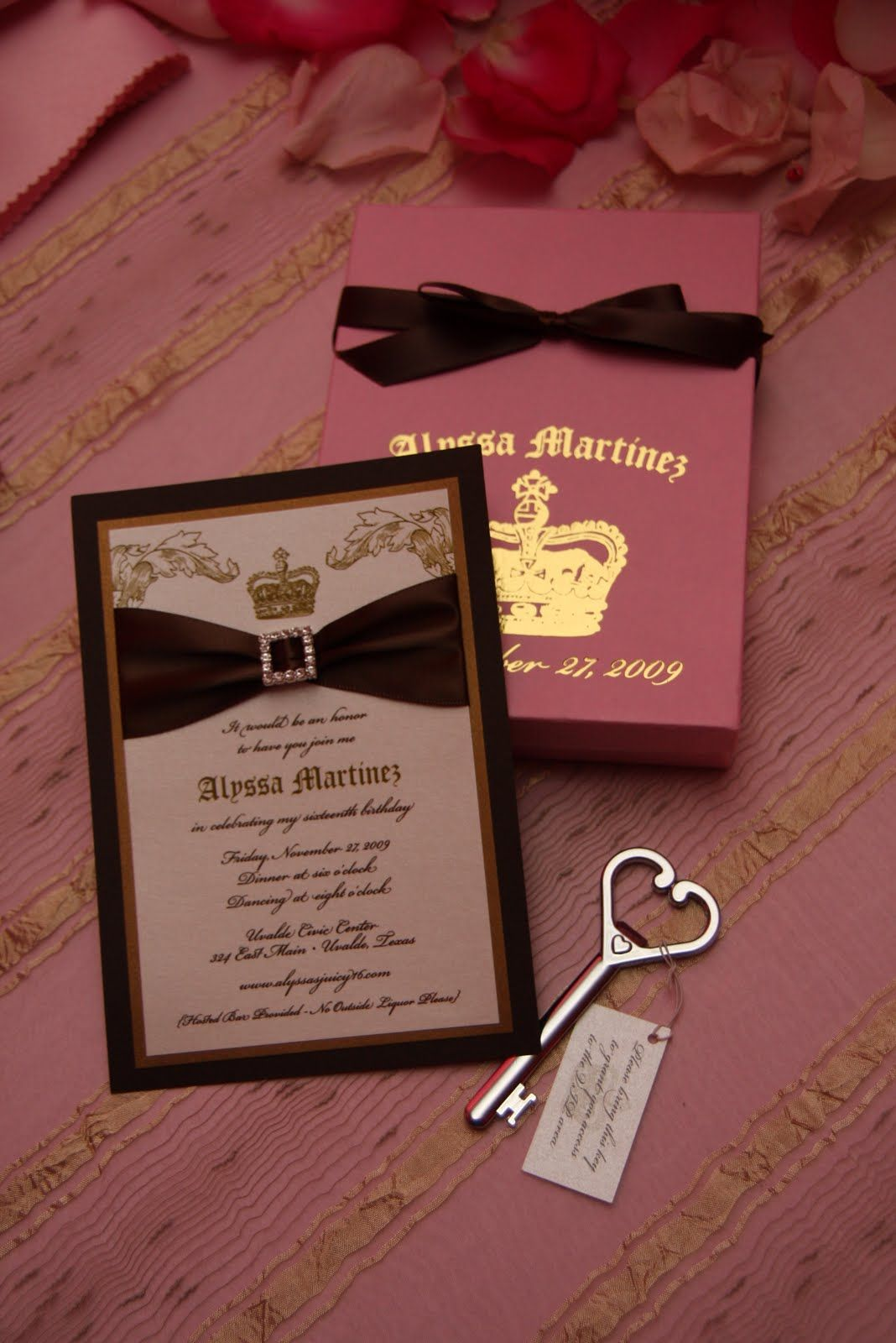 Brown and Pink Juicy Couture inspired invitation | Juicy Couture ...