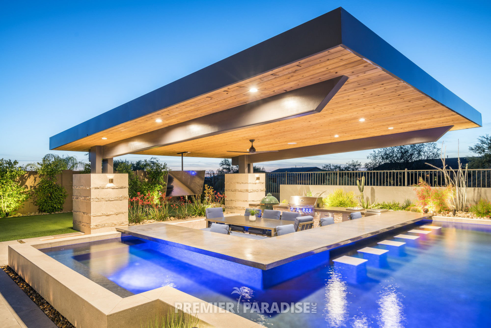 Custom Pool With Cantilevered Outdoor Kitchen Scottsdale Arizona Premier Paradise Inc Modern Pool House Pool Houses Custom Pools