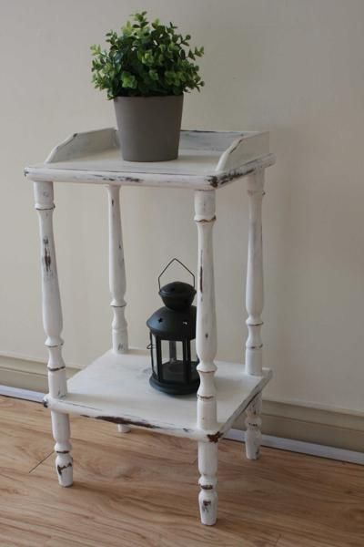 Distressed off white side table