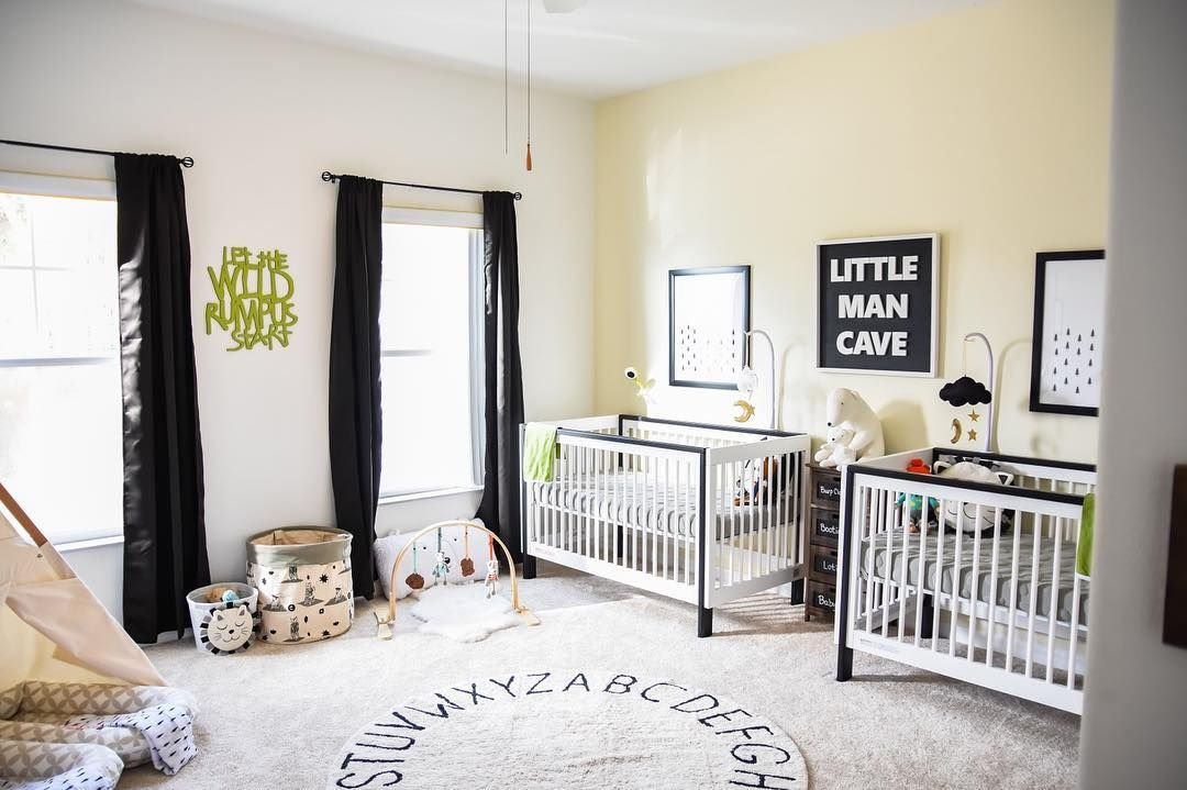 Simple twin boy nursery. Navy, Yellow and Gray. Love these colors ...