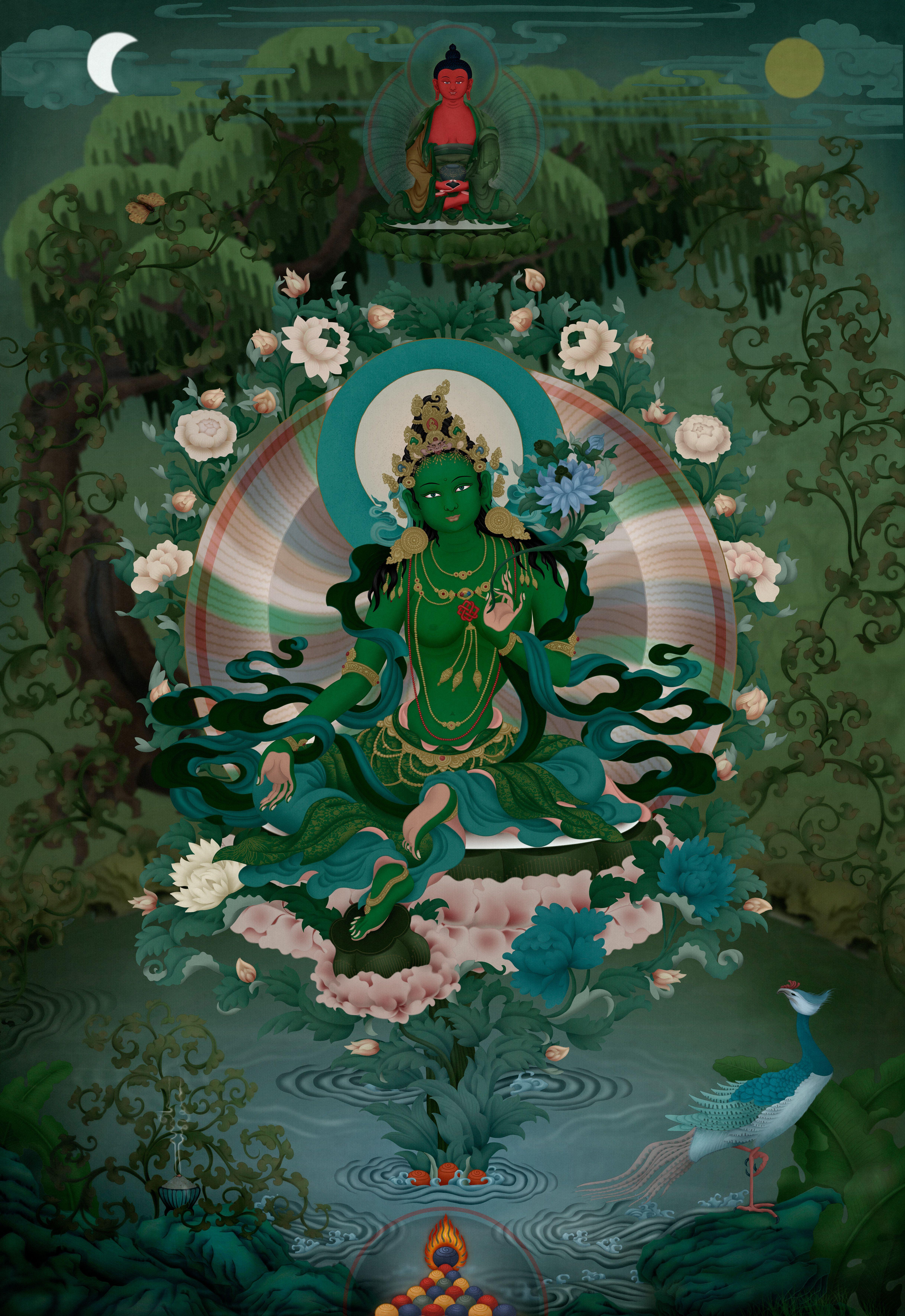 Pin by Kandra Niagra on Green and White Tara   Green tara ...
