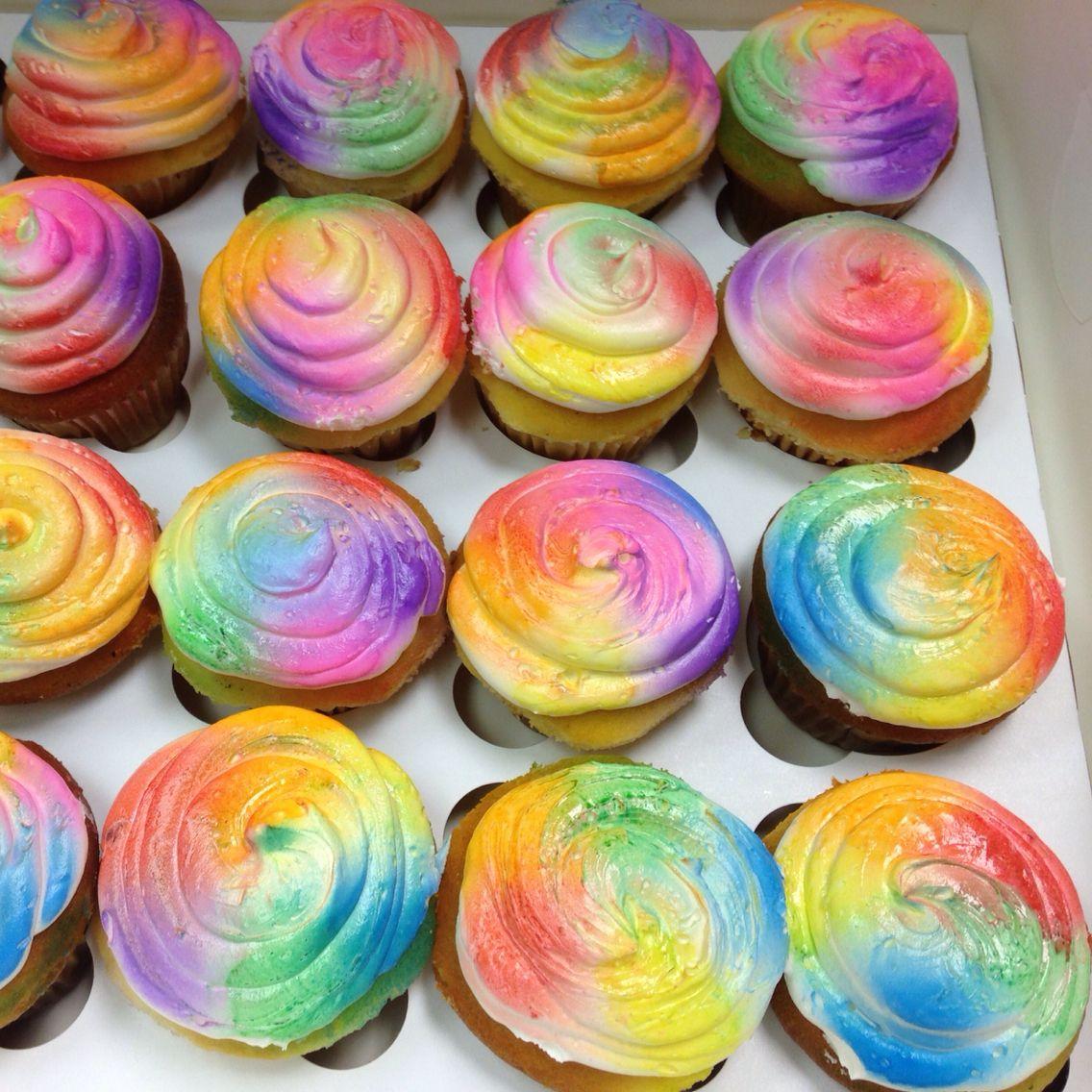 Airbrush Tie Dye Cupcakes