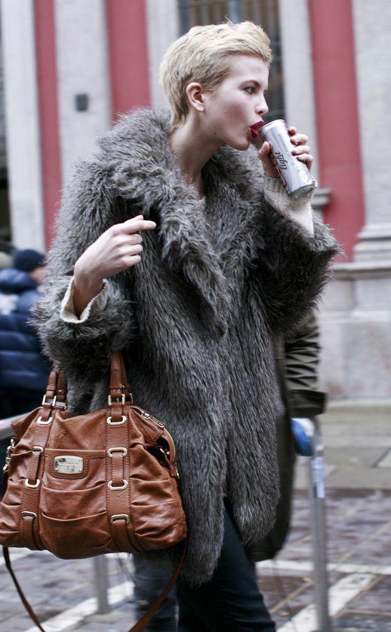 Women's Charcoal Fur Coat, Beige Oversized Sweater, Black Skinny ...