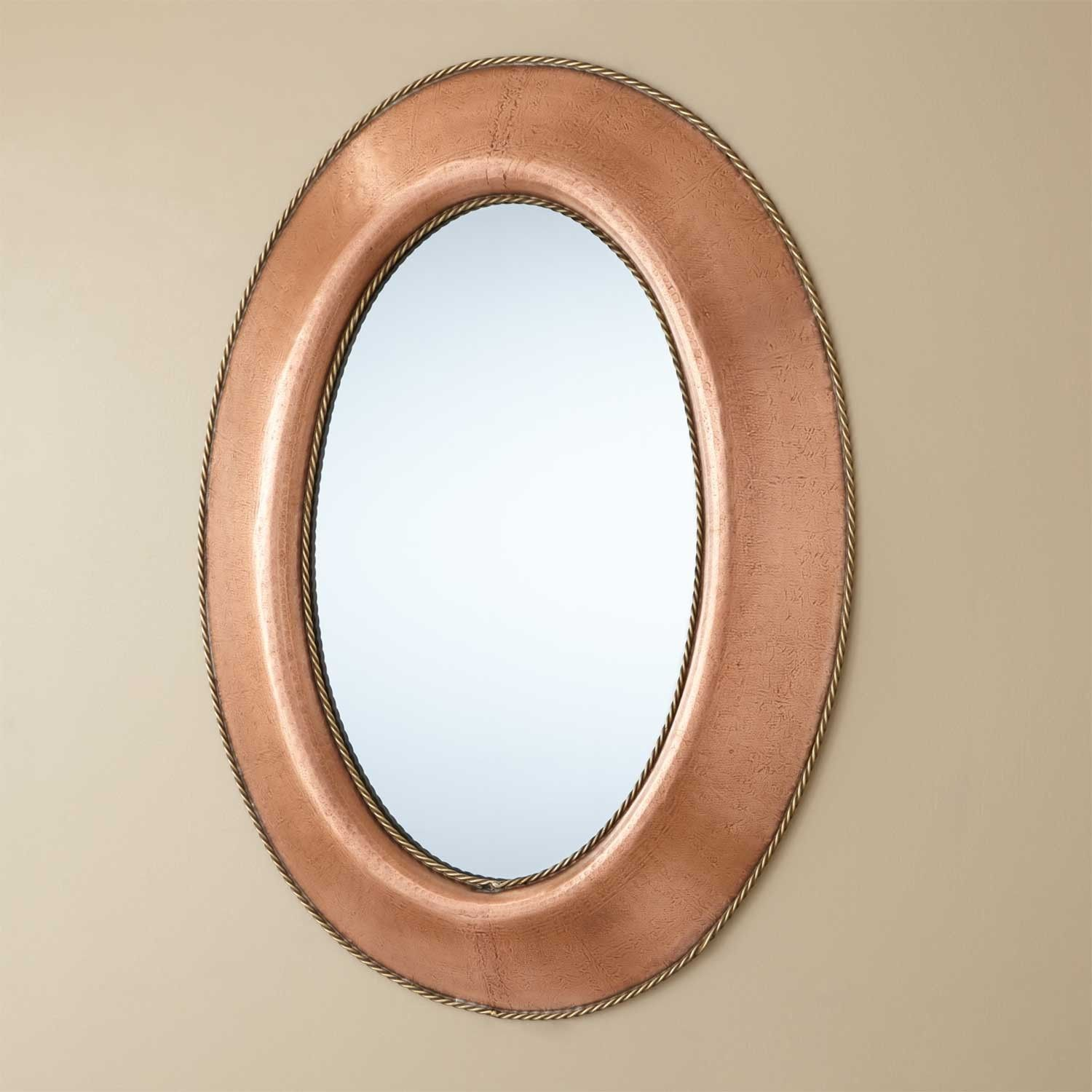 Medium Oval Lightly Hammered Copper Mirror with Brass Accents ...