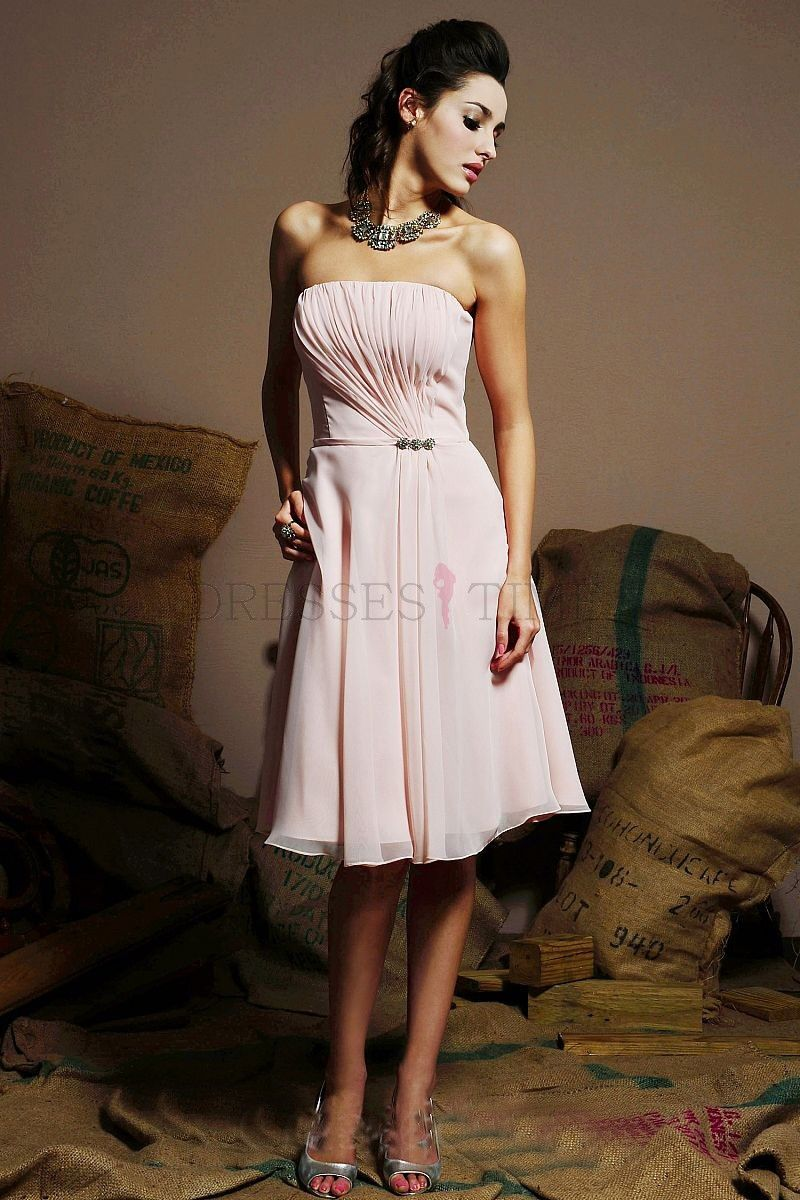 Custom made princess strapless knee length beading short chiffon check for light pink dusky pink baby pink bridesmaid dresses of all styles tailor made service for pale pink blush pink bridesmaid dresses ombrellifo Image collections
