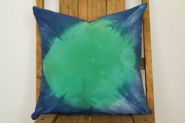Emerald Green and Indigo Blue Pillow Cover- Hand Dyed Throw Pillow Cover