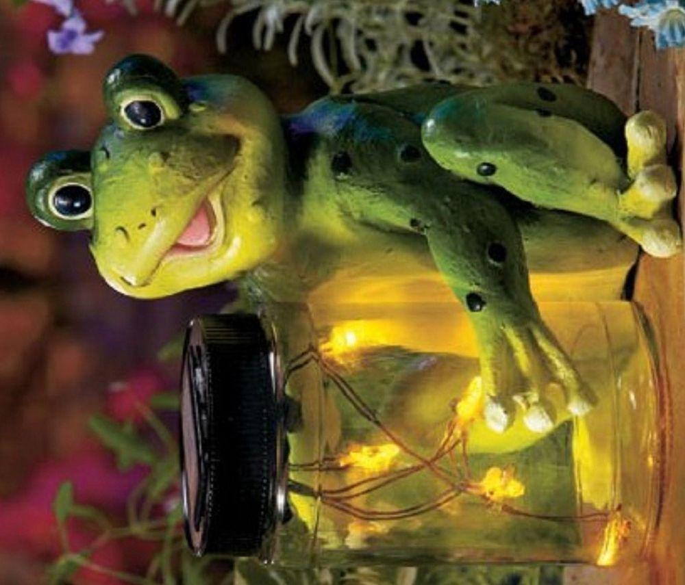 Solar Powered Frog Fireflies Jar Summer Campfire Garden Yard Patio ...