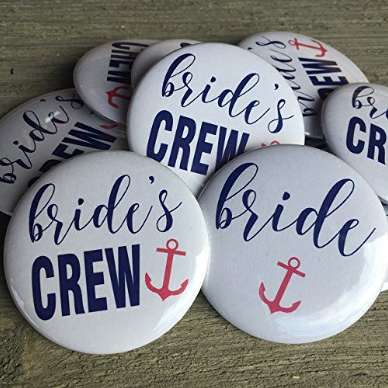 Bride's Crew with Anchor Nautical Bachelorette Party Buttons