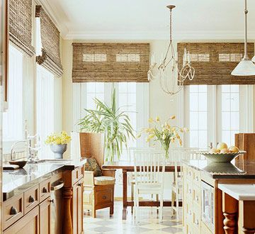 Great Kitchen Window Treatments   Bamboo Blinds   BHG.com