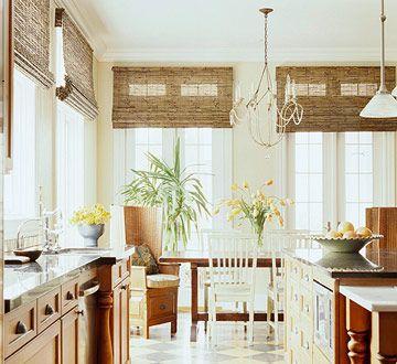 Great Kitchen Window Treatments   Bamboo Blinds   BHG.com