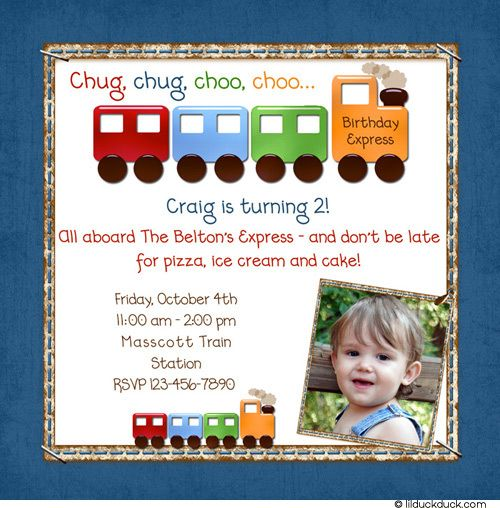 Choo Choo 2nd Birthday Invitation Toy Trains Invite Party – Choo Choo Train Birthday Invitations