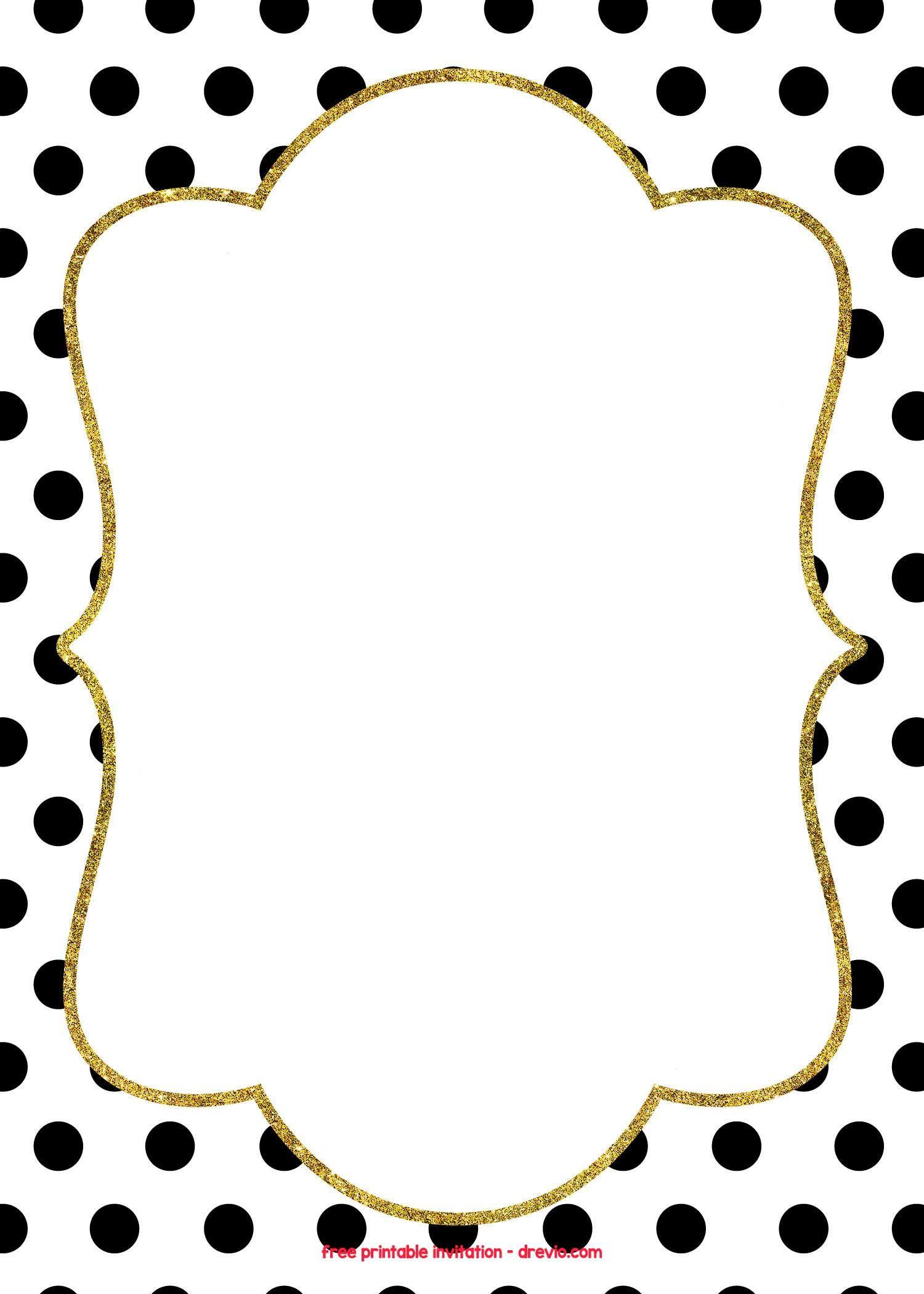 Free Golden Polkadot Invitation Templates Free Printable