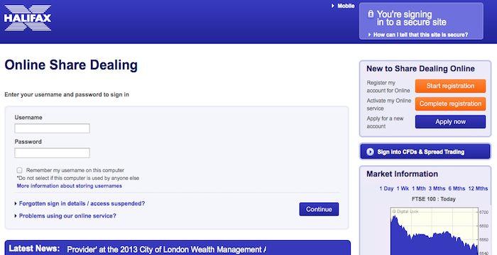 Halifax Share Dealing Login Halifaxsharedealing Online Co Uk