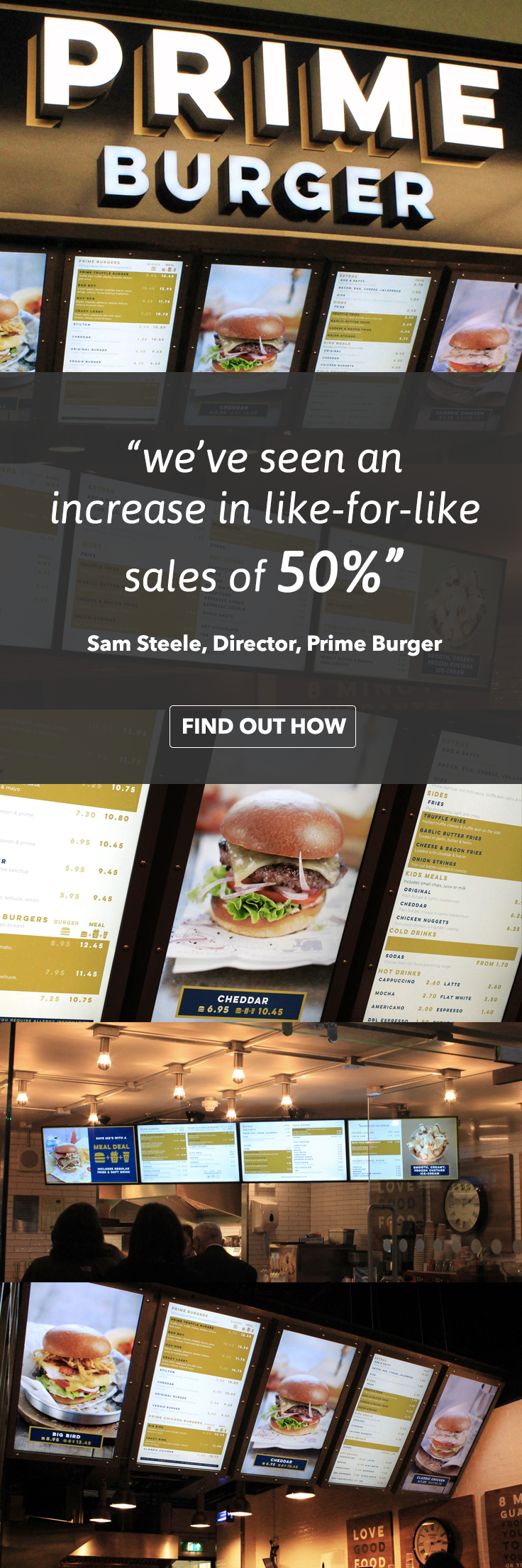 Find out how Prime Burger realised a 50% - 75% increase in like-for-like sales at their London Fast Casual Restaurants located at ExCel, Euston Train Station and St Pancras International Train Station: https://www.eclipsedigitalmedia.co.uk/project/prime-burger/ #digitalsignage #digitalmenus #digitalmenuboards