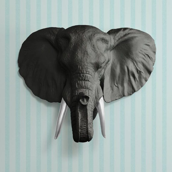 The Savannah in Black + Silver Tusk- Faux Elephant Head - Fauxidermy ...