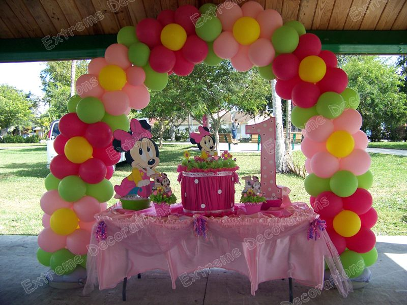 Minnie Mouse Cake Table Decoration With Balloon Sculptures Pelauts