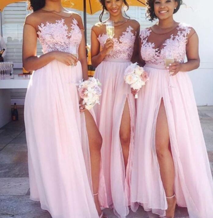 Pink Pretty Slit Chiffon Long Bridesmaid Dresses, Lace Applique ...