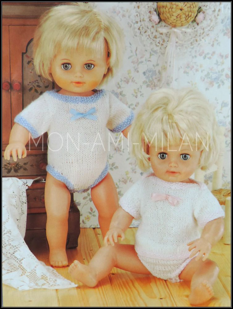 Knitting Pattern DOLLS CLOTHES/PREM BABY VEST PANTS ALL-IN-ONE ...