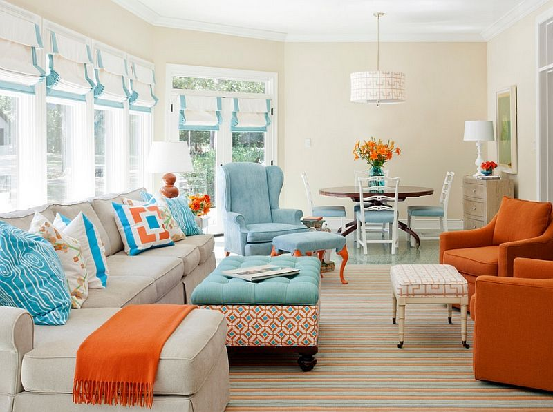 Marvelous House Of Turquoise: Tobi Fairley Interior Design   Aqua And Orange Living  Room. Love That Ottoman! Part 17