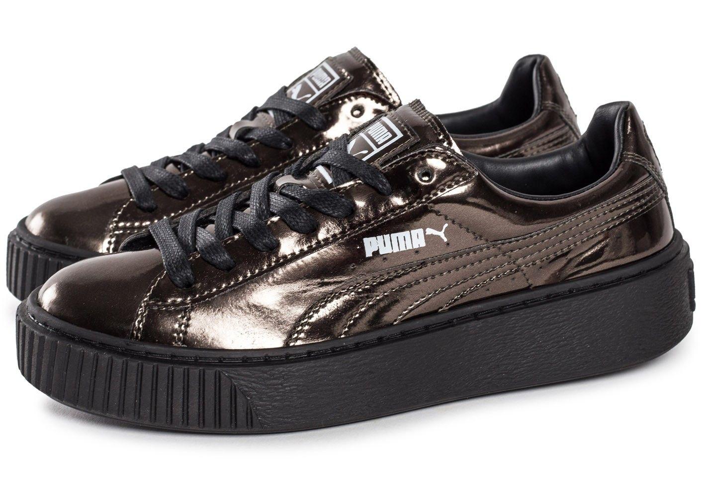 Chaussures Puma Basket Platform Metallic bronze vue extérieure ... 7a1cef8fa8
