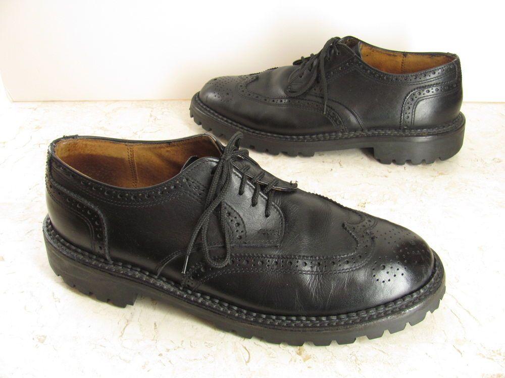 J Crew Shoes 10.5 M Black Leather Wingtip Lug Sole Mens Oxford #JCREW  #Oxfords