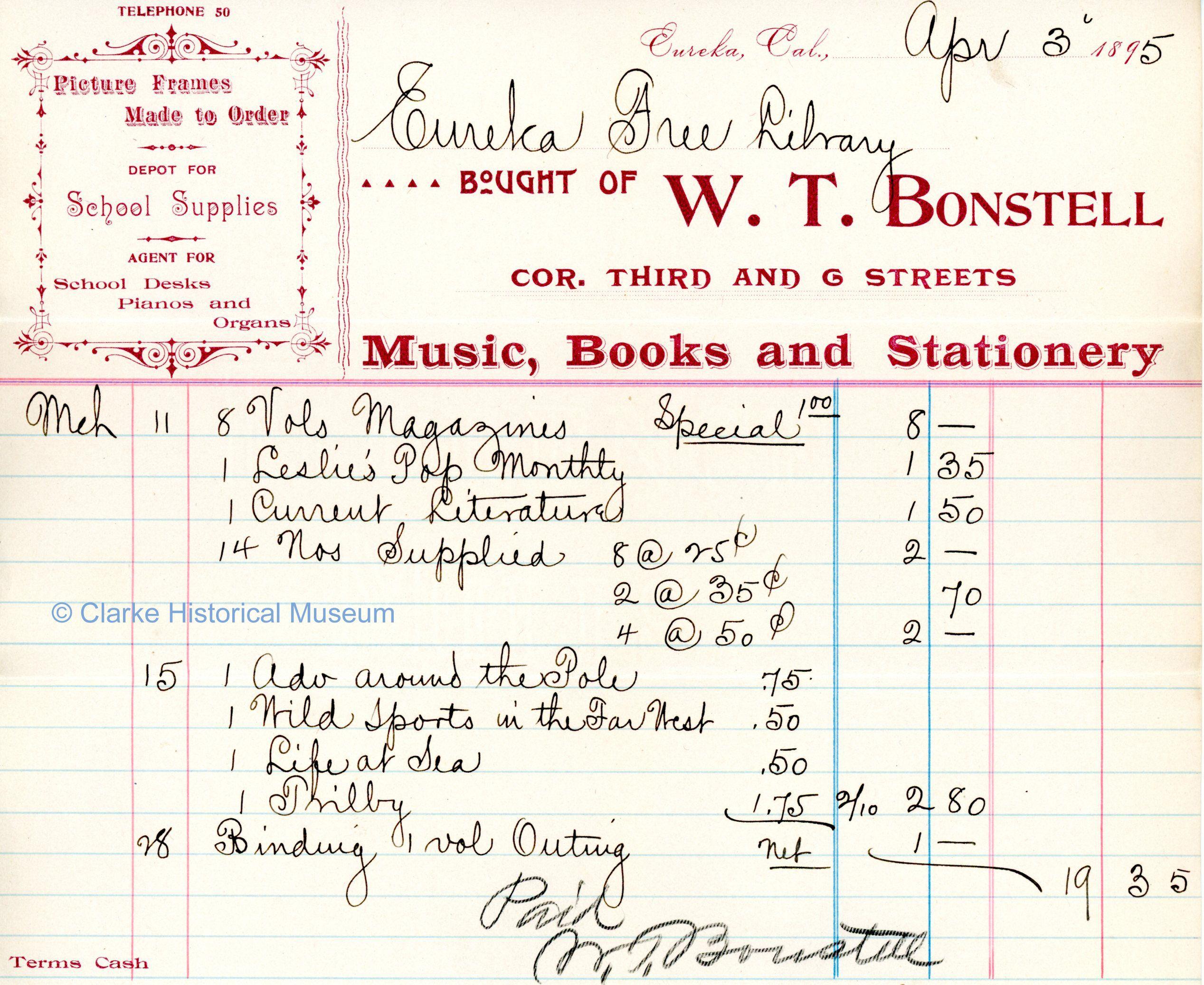 W  T  Bonstell, Music, Books and Stationary, corner of Third
