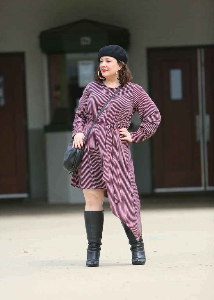 90cfbaade90 Wardrobe Oxygen in a red striped asymmetrical dress with black knee high  boots