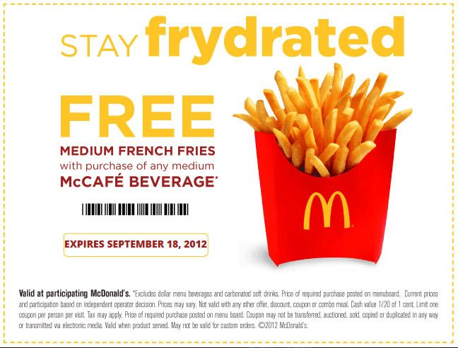 McDonald's Frydrate Free Fry Coupon | Good, Cheap & Free Food ...