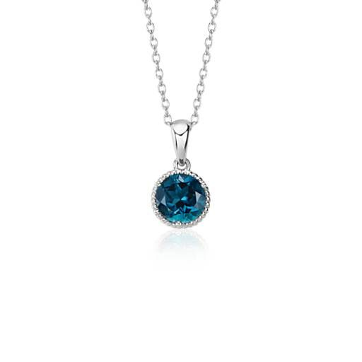 Show off a classic with this London blue topaz gemstone necklace, framed in sterling silver and finished off with elegant rope detailing. This necklace can be worn at 16 and 18 inches.